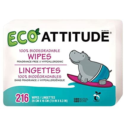 Attitude 100% Biodegradables Toallitas Húmedas Para Bebés (72 Por Paquete X 3)