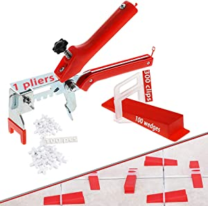 Aizami Professional 1/8 Tile Leveling System Tiles Leveler with 300PCS Leveler Spacers Clips Reusable 100PCS Wedges and 1PC Floor Tiles Pliers (3mm, red)