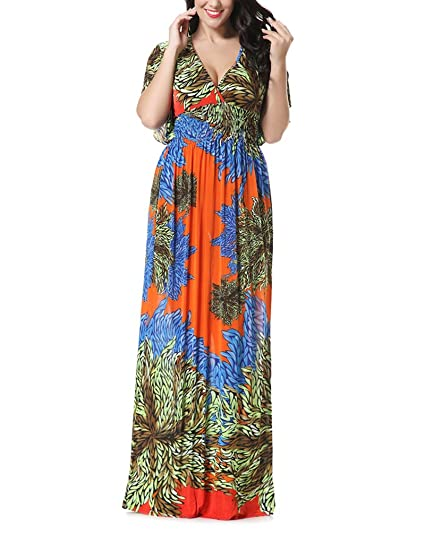 Adelina Vestidos Mujer Verano Estampados De Flores Vintage Boho Vestido Fiesta Dresses Señoras Playa Elegantes Manga Corta V Cuello Cintura Alta Suelta ...