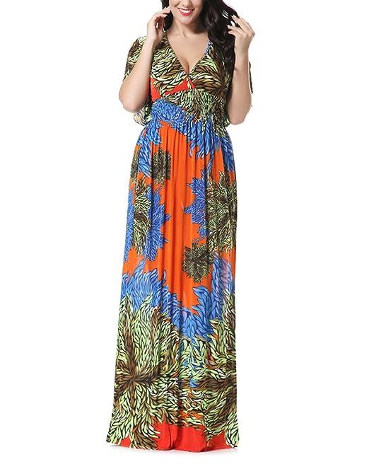 Vestidos Mujer Verano Estampados De Flores Vintage Boho Vestido Playa Elegantes Manga Corta V Cuello Cintura Alta Suelta Tallas Grandes Vestidos Largos ...
