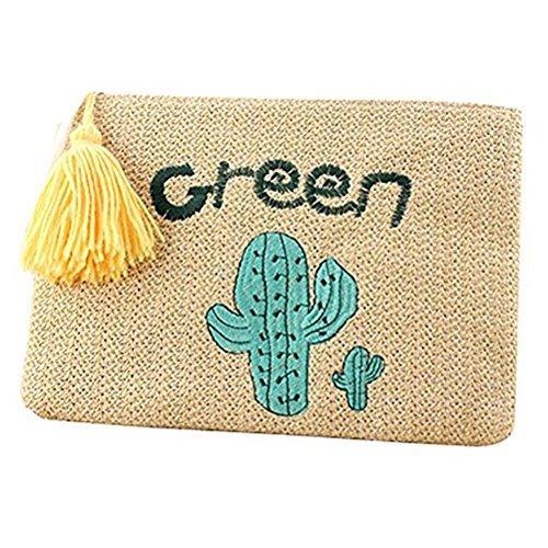 De Pochette Plage Fille Tiss¨¦ Enveloppe Vintage Abuyall Crochet Sac Gland D'¨¦t¨¦ Pt12 Paille ZvHxqpR