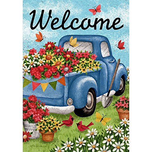 Flower Truck – Standard Size, Decorative Double Sided, Licensed and Copyrighted Flag – Printed IN USA by Custom Decor Inc. 28 Inch X 40 Inch approx.