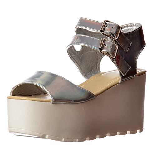 d6b5ae4dcf3b Onlineshoe Women s Double Buckle Summer Wedge Sandals Silver Hologram Wedge  Sandal Uk7 - Eu40 - Us9