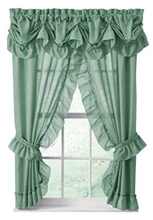 Amazon.com: Ruffled Mayfield Priscilla Curtain Panel Collection ...