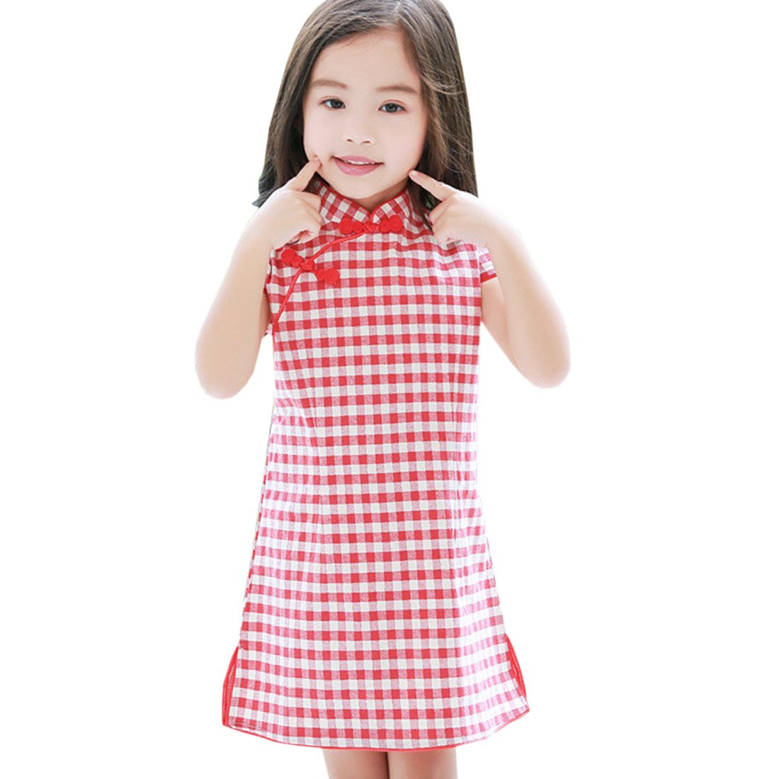 ACVIP Kids Little Girl's Checkered Cotton Chinese Qipao Dress (5-6 years/Tag 130, Red)