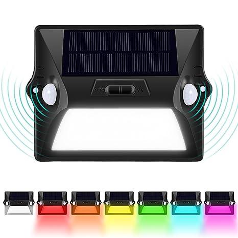 Foco Solar, 12 Lámparas Solares Doble cabeza de Pared del Sensor de movimiento PIR Luces