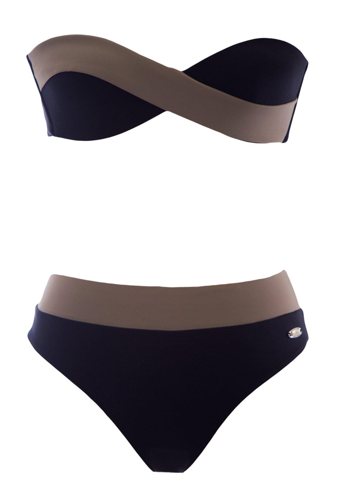 Giorgio Armani Women's Bandeau Bikini with Straps Small Black and Taupe