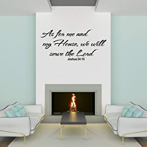 Empresal As for Me and My House Wall Decals Quotes Christian Art We Will Serve the Lord Scripture Quote Sticker