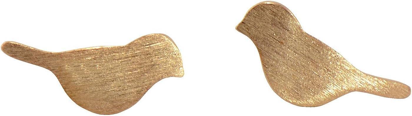 Pendientes Paialco para niña (plata de ley), diseño delicado de pájaros, chapado en oro rosa y oro blanco