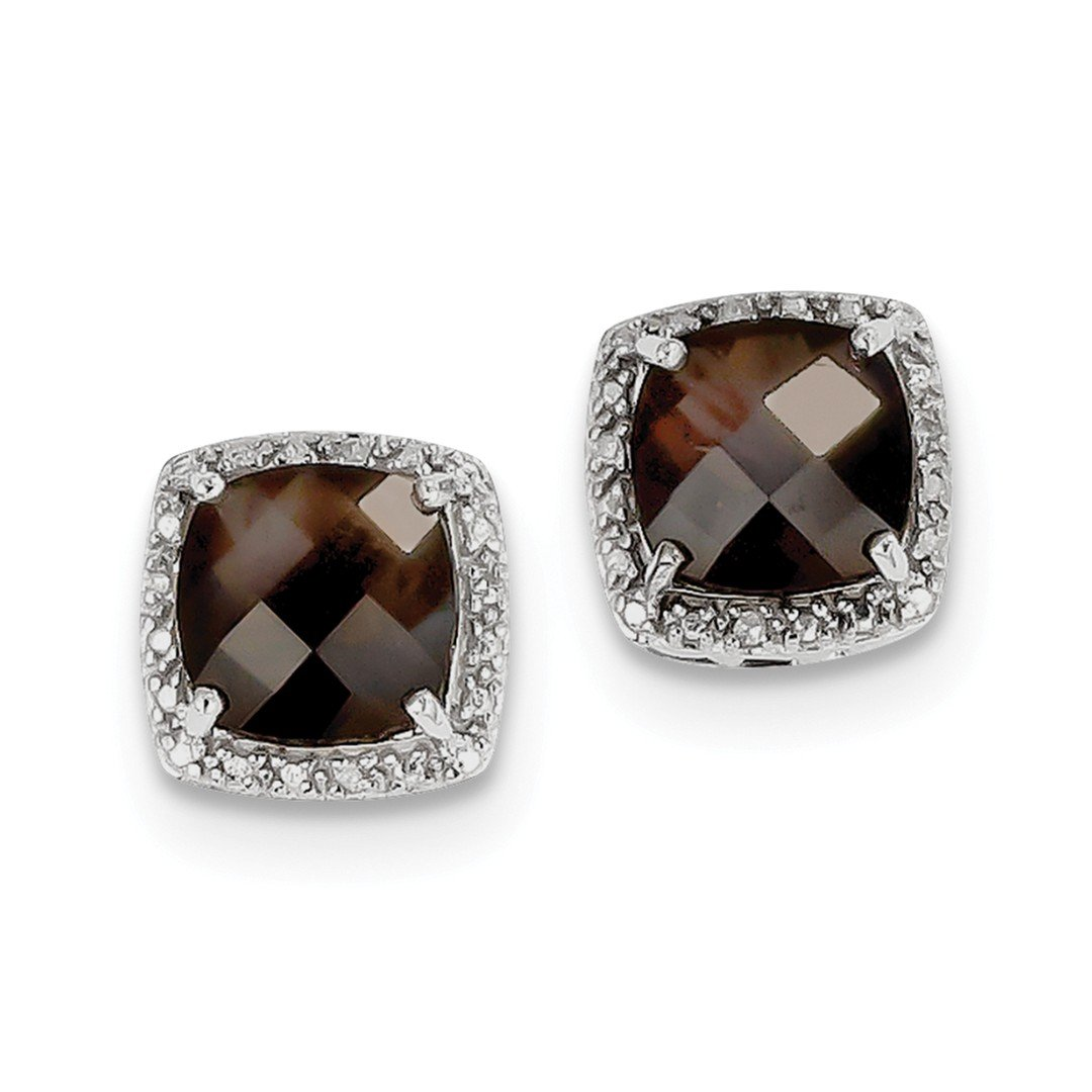 ICE CARATS 925 Sterling Silver Smoky Quartz Diamond Post Stud Ball Button Earrings Fine Jewelry Gift Set For Women Heart