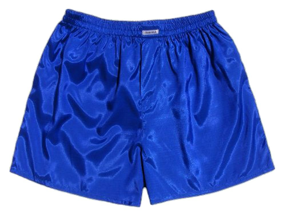 (M) Blue Boxer Shorts Underwear Men Sleepwear Satin JATUJAKTHAI