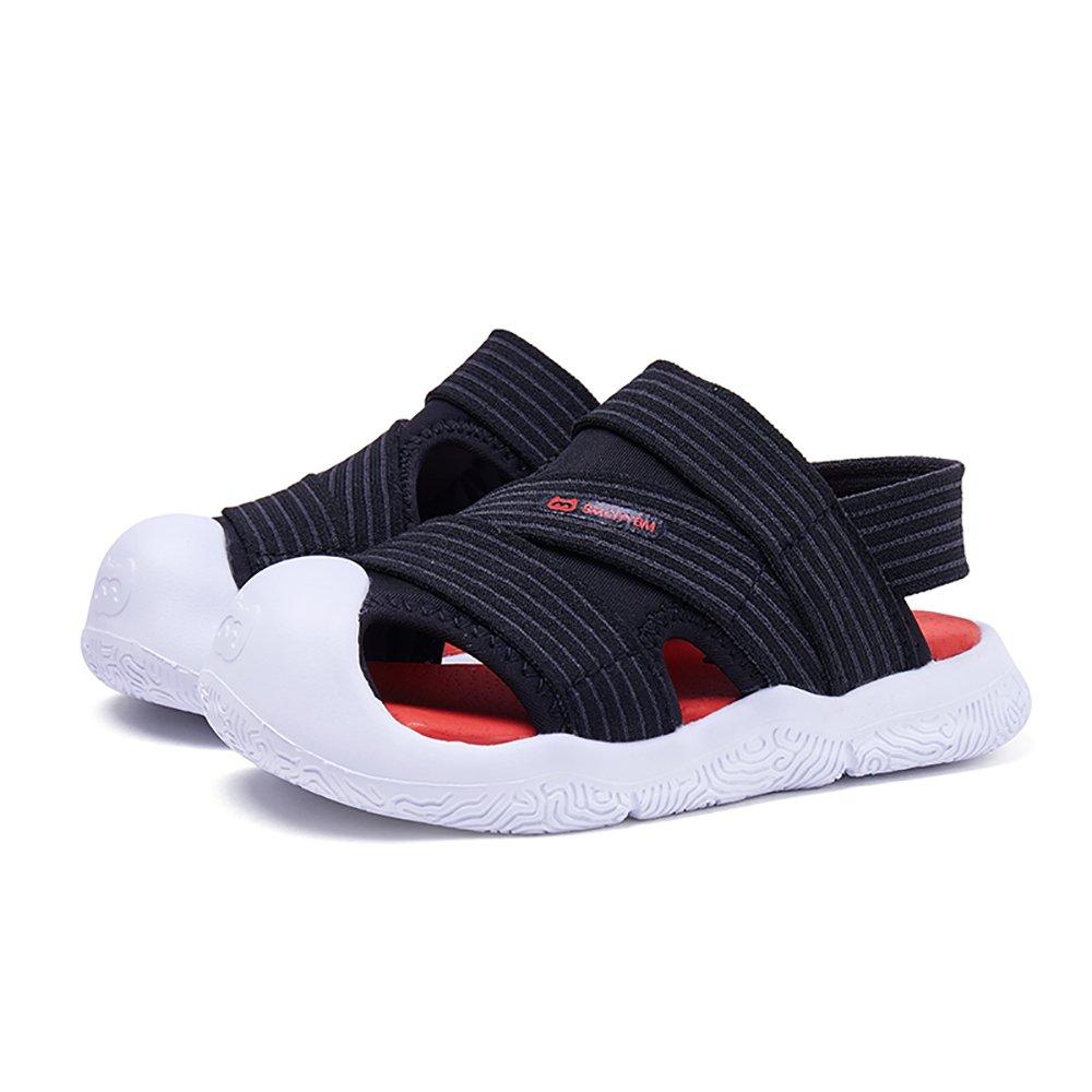 BMCITYBM Toddler Water Sandals Girls Boys Closed-Toe Little Beach Shoes Black