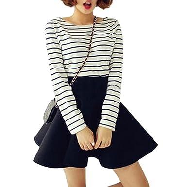 24481230a5a Tenflyer Vintage Women Stretch High Waist Short Plain Skater Flared Pleated  Mini Skirt