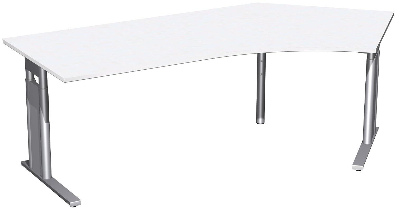 Geramöbel Schreibtisch 135° rechts höhenverstellbar, C Fuß Blende optional, 2166x1130x680-820, Weiß/Silber