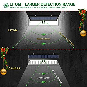 Litom Solar Lights Outdoor 54 LED, Super Bright Wide Angle Solar Powered Light, Wireless Security Waterproof Wall Lights for Garage Patio Garden Driveway Yard RV