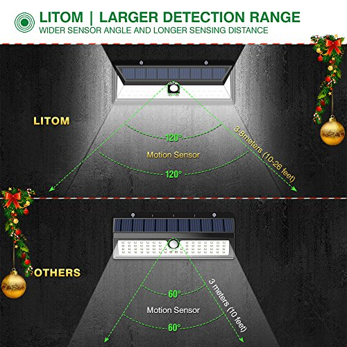 LITOM Solar Lights Outdoor, 54 LED Super Bright 270°Wide Angle Motion Sensor Lights, Wireless Waterproof Security Solar Light for Front Door, Yard, Garage, Deck, Porch, Shed, Walkway, Fence (2 Pack) by Litom (Image #2)