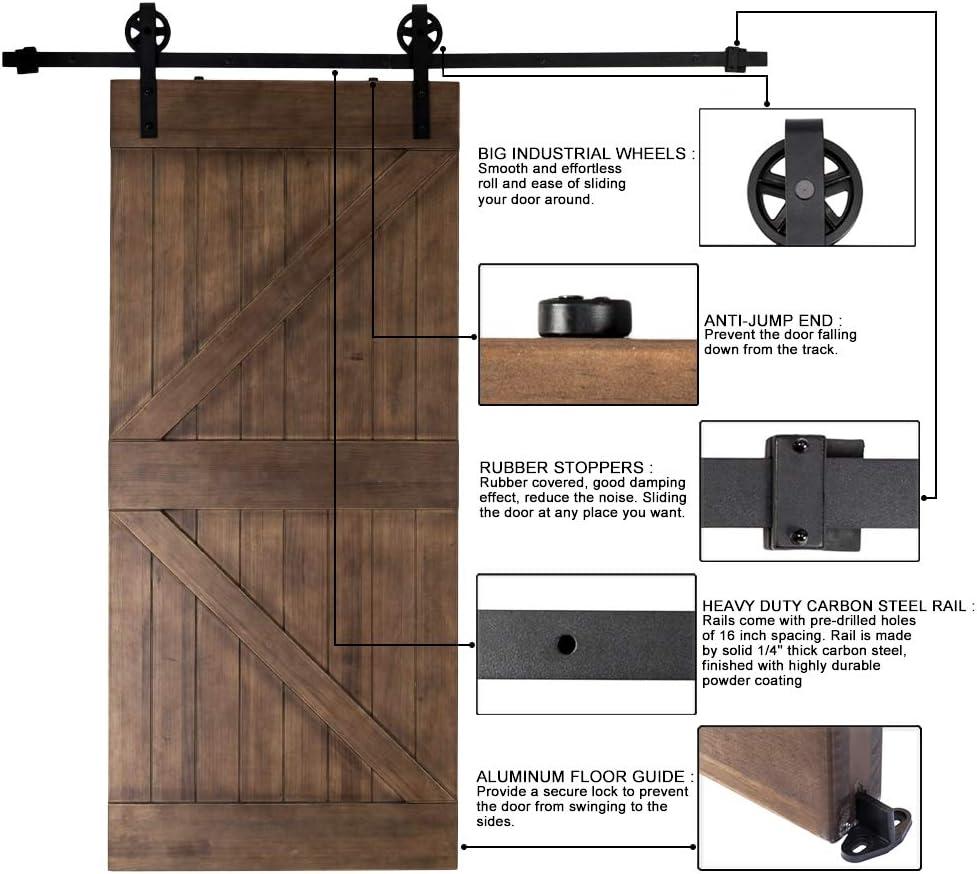 6.6 ft Puerta Corrediza de Bran hardware, acero granero puerta corredera pista Kit de Hardware, incluye barra, barra apoyo, rodillo, tope para puerta, tope, guía de suelo: Amazon.es: Bricolaje y herramientas
