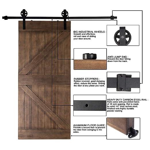 Amazon.com: Bonnlo Antique Sliding Barn Door Hardware Kit For Closet,  Garage, Kitchen, Interior U0026 Exterior Track Door (1 X 6.6 Foot  Rail)(Black)(Big ...