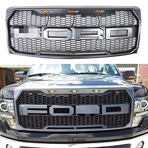 Raptor Style Grille For 2009-2014 Ford F-150 Front Grill Replacement Gray W/Amber LED Lights XL STX FX4