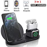 Wireless Charger Station,Miuly 3 in 1 Charging Stand for Apple Watch 5/4/3/2/1, Dock for AirPods Pro/2/1, Qi-Certified Wireless Charger for iPhone 11 Pro Max/11/xr/8/Xs/Samsung/All Qi Phones …