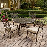 Hanover TRADITIONS5PC Traditions 5-Piece Deep-Cushioned Outdoor Dining Set, Includes 4 Deep Cushioned Dining Chairs and 48-Inch Round Dining Table
