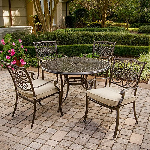 Hanover TRADITIONS5PC Traditions 5-Piece Deep-Cushioned Dining Set Outdoor Furniture, 48