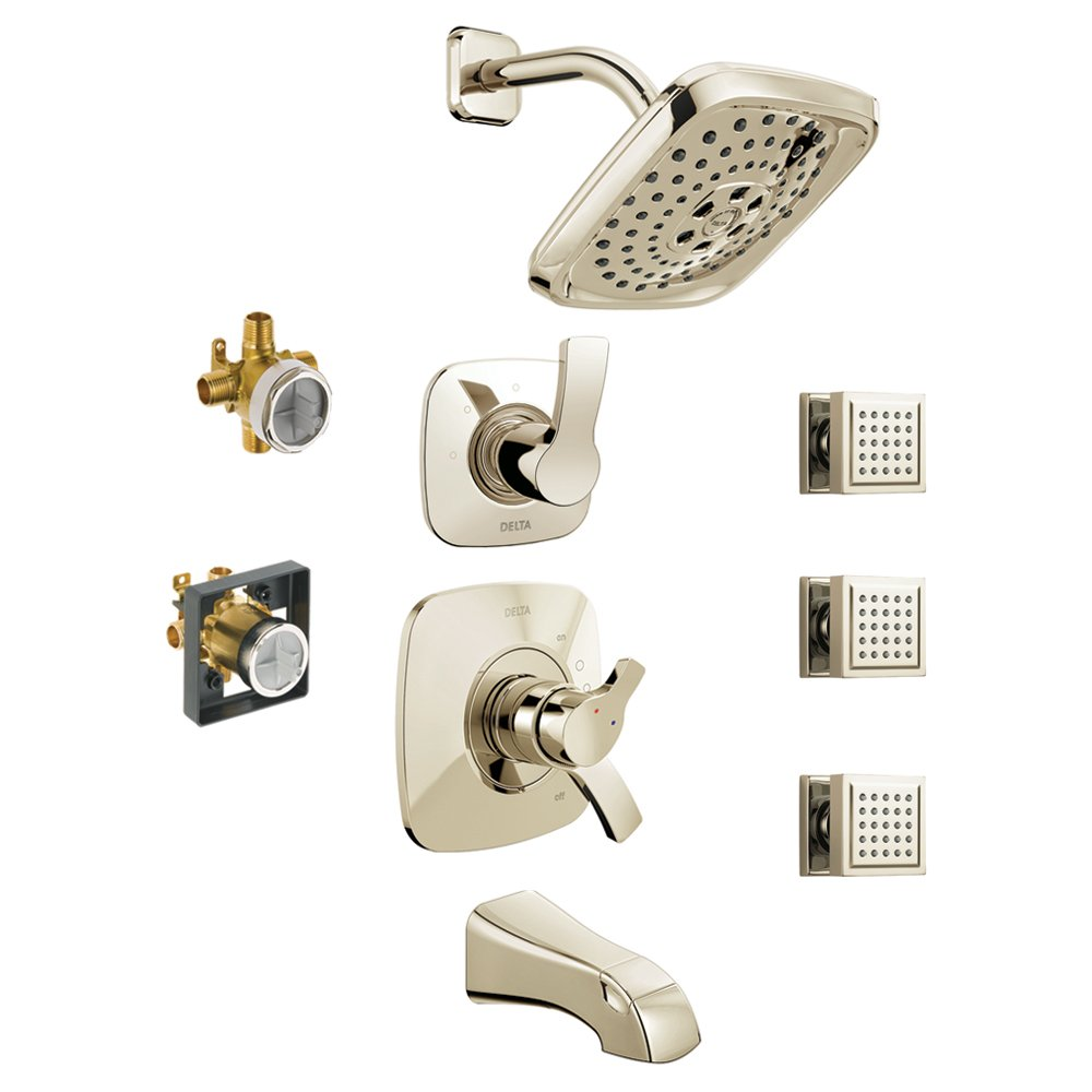 Delta KTS17452-DRB15-PN KTS17452-DRH55-PN Tesla 17 Series Tub//Shower Kit with Hand Shower and Rough-in Polished Nickel