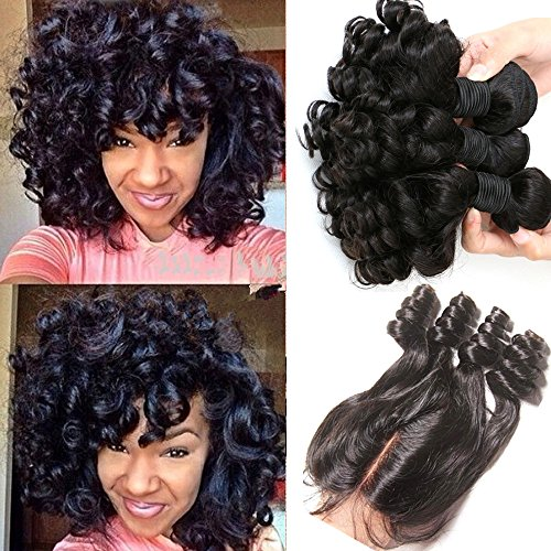 Brazilian Virgin Hair Funmi Hair With Closure Bob Weave 3 Bundels With Closure Curly Weave Human Hair With Closure (8 8 10 with 12)
