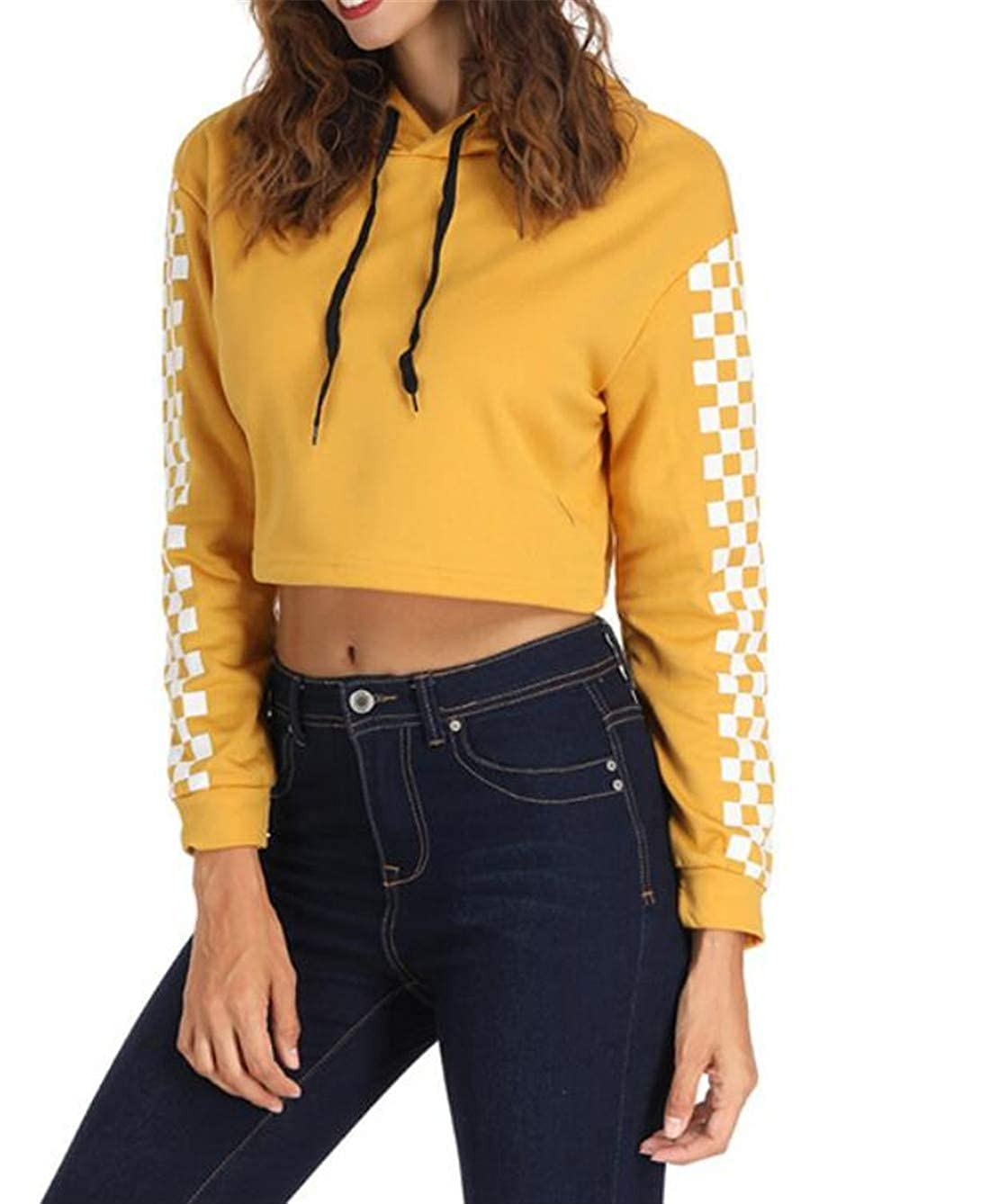 WNSY Women Autumn Checkerboard Cropped Long-Sleeve Hoodies Sweater Pullover