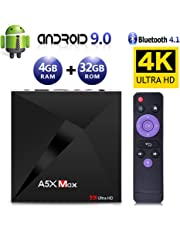 Android 9.0 TV Box, Android Box 4 GB RAM 32 GB ROM, ATETION MAX RK3328 Quad Core 64 bit Smart TV Box, Wi-Fi-Dual 2.4G, BT 4.1, Box TV UHD 4K TV, USB 3.0