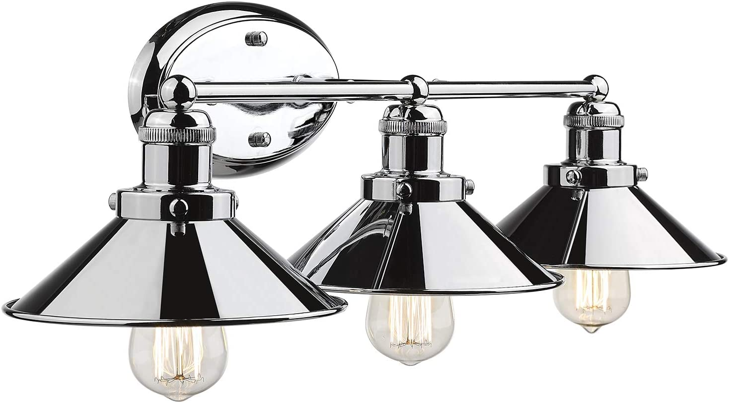 Zeyu 3-Light Vanity Light, Bathroom Wall Sconce Vanity Lighting Fixture, Chrome Finish with Metal Shade, 102-3W CH