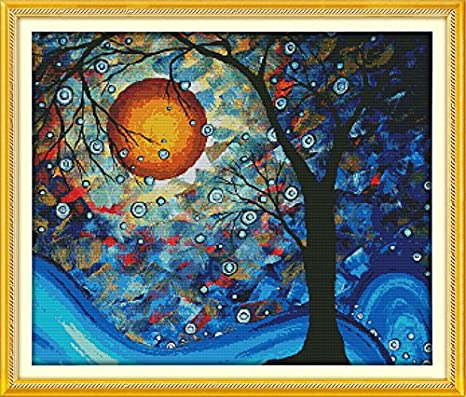 DIY Art Crafts /& Sewing Needlepoints Kit for Home Decor 24x21 Counted Cross Stitch Kit Cross-Stitching Patterns The Tree of Dreams with 14CT White Fabric Joy Sunday Cross Stitch Kits
