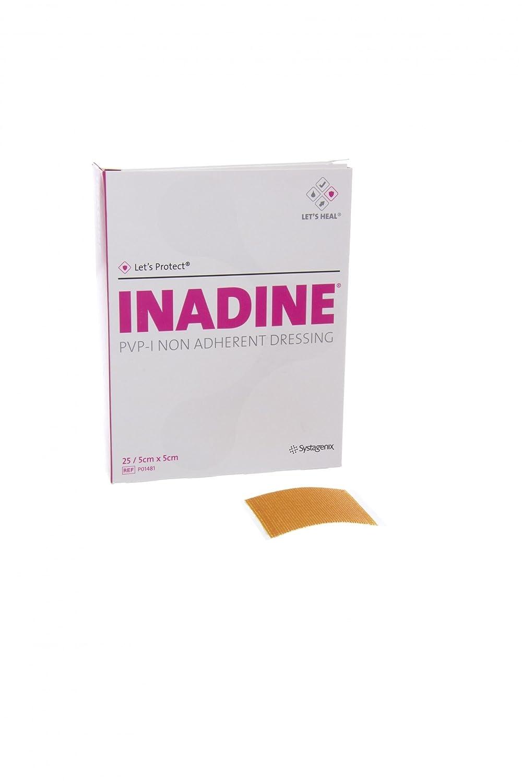 Inadine JKP01481 PVP-I Non-Adherent Dressing, Sterile, 5 cm Width, 5 cm Length (Pack of 25) KCI MEDICAL LTD