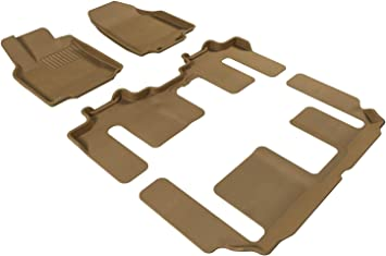 3D MAXpider Complete Set Custom Fit All-Weather Floor Mat for Select Nissan Altima Models Kagu Rubber Tan
