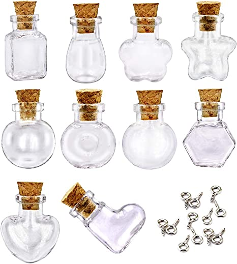 10 Mini Glass Bottles Corks Miniature Vial Empty Jars Wish Message Pendant Craft