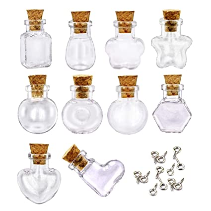 5a5232b6eb14 LEFV 10pcs Mini Cork Top Glass Bottle Vial Charm - 1 Inch Clear Empty  Sample Jars Message Bottle Small Tiny Size Pendant with Corks and 10pcs Eye  ...