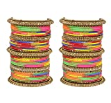 Ratna Indian Bollywood Traditional Antique golden wedding style Punjabi bangles set women jewellery (2.4)