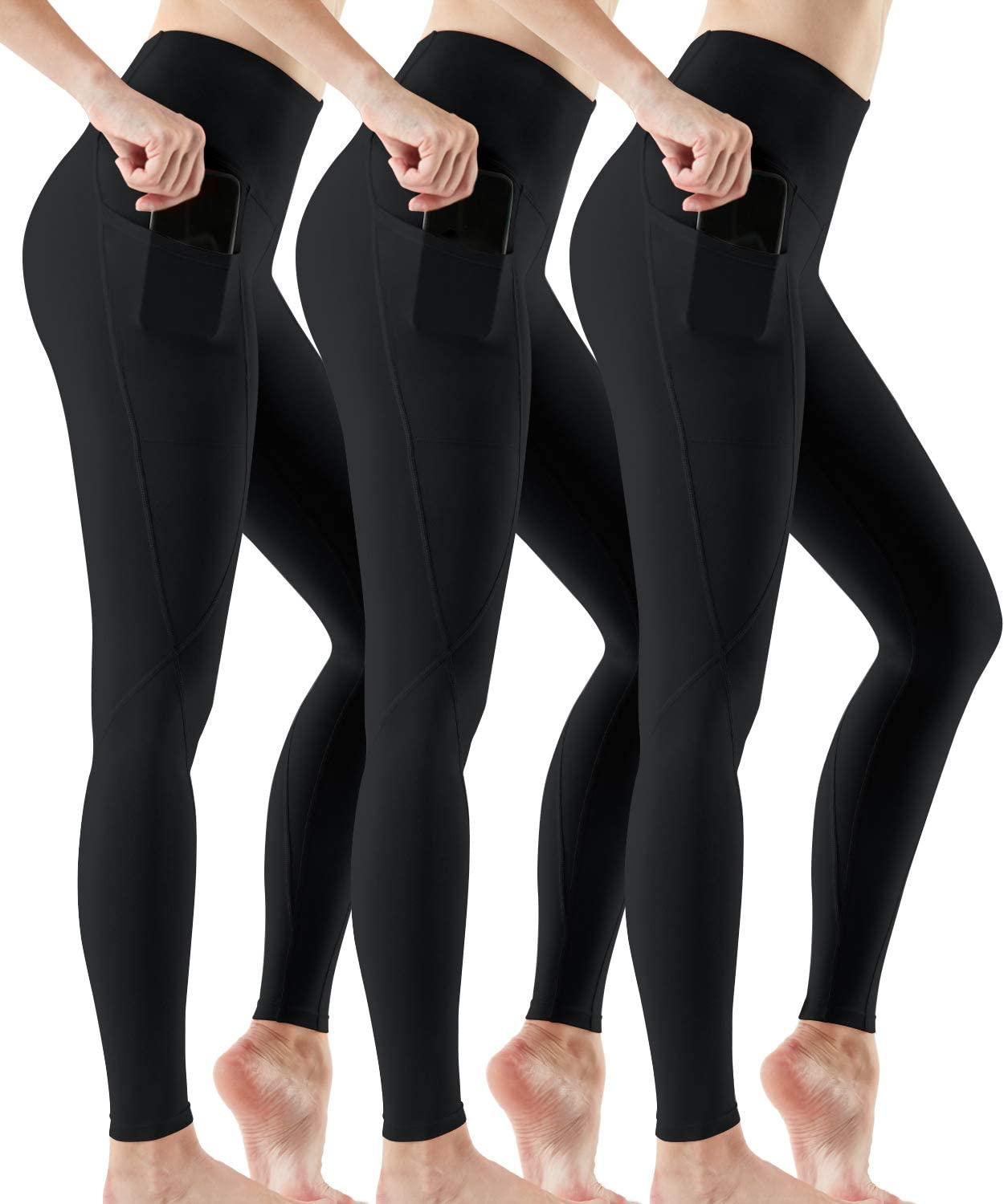 ATHLIO Womens (Pack of 2, 3) Yoga Pants High-Rise Tummy Control w Hidden/Side Pocket