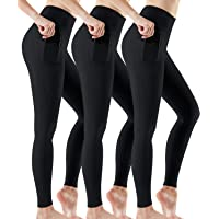 ATHLIO 3Pack High Waist Yoga Pants with Pockets, Tummy Control Yoga Leggings, 4 Way Stretch Non See-Through Workout…