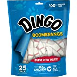 Dingo Rawhide Free Boomerang Treats for All Dogs with Real Chicken