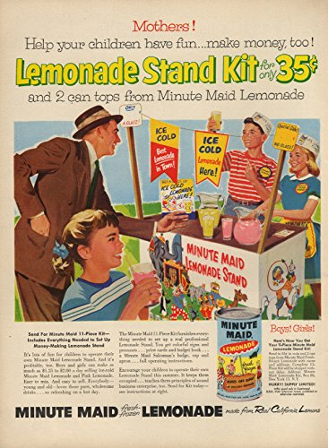 Mothers! Kids have fun & make money Minute Maid Lemonade Stand Kit offer ad 1956 (Make Money Have A Lemonade Stand)