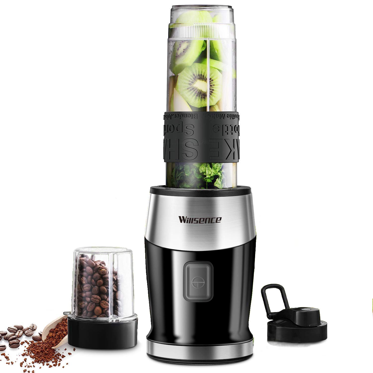 Willsence Personal Blender Smoothies Blender(Coffee Grinder Included) 300W High Speed Single Serve Blender for Shakes and Smoothies with 20 oz Tritan Sports Bottle, Travel Lids by Willsence