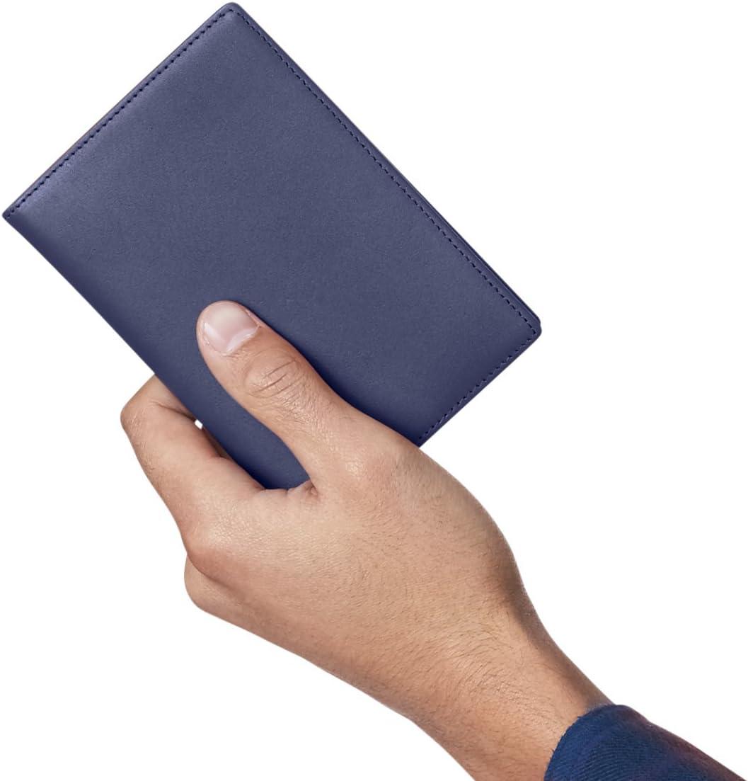 AmazonBasics Cartera de piel para pasaporte con bloqueo para RFID, color azul marino