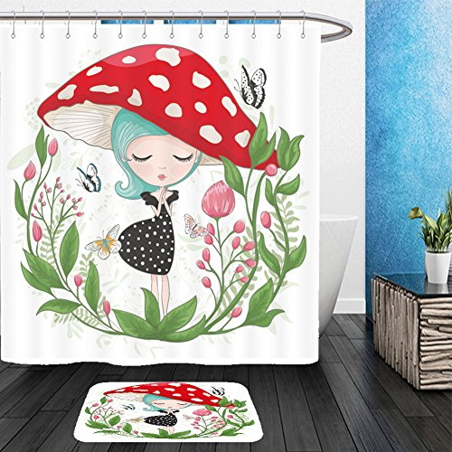Vanfan Bathroom 2Suits 1 Shower Curtains & 1 Floor Mats cute girl vector children illustration for school books and more t shirt graphic cartoon character 547537486 From Bath (School Western Band Costumes Pictures)