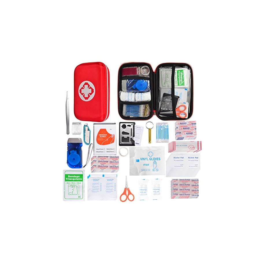 HONYAO First Aid Kit Survival Kit Upgraded w/ Waterproof Hard Case Multitool Plier Thermal Blanket Bandages and more for Travel Hiking Camping Fishing Hunting Boating Outdoor Adventure