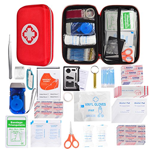 105 Piece First Aid Kit Waterproof Hard Case Lightweight Mini Survival Medical Kit Portable for Travel Hiking Sports Car Home Office Camping