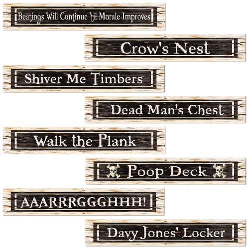 Beistle 54507 4-Pack Pirate Street Sign Cutouts, 4-Inch by 24-Inch (Pirate Signs)