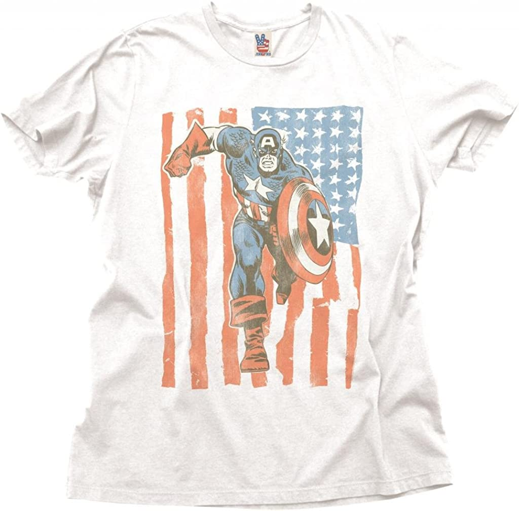 Junk Food Captain America Flag Adult White T-Shirt