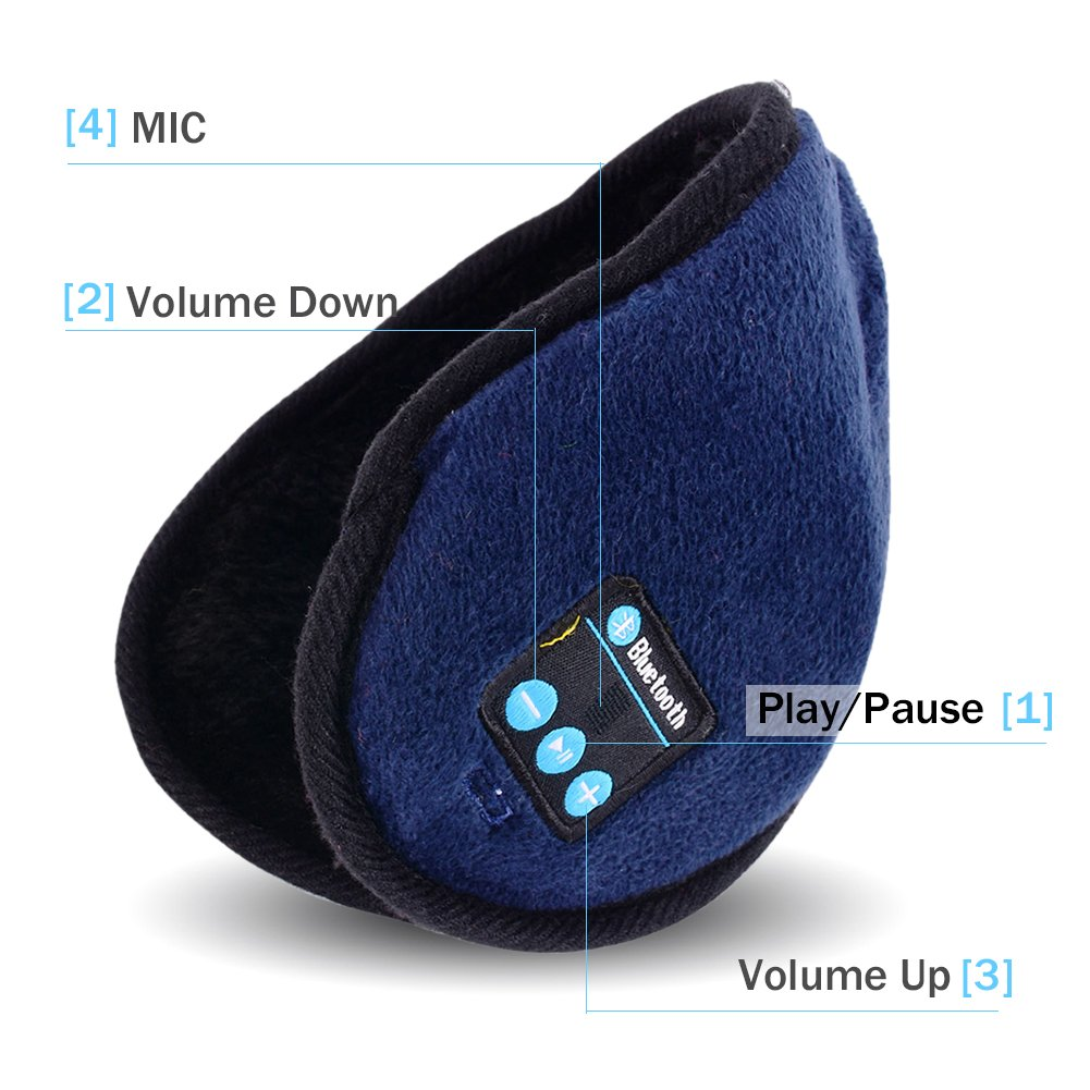 Amazon.com: Greatall Winter Wireless Bluetooth Headset Warm Earmuff Headphones With Microphone For Smartphones Keep Warming (Deep Blue): Cell Phones & ...