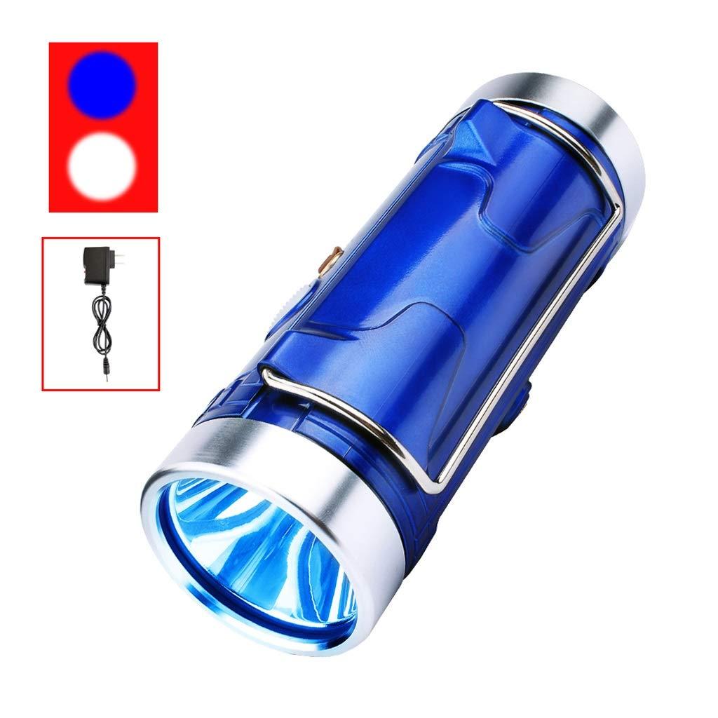 A FTD Continuous Lampe zum Fischen, Blau Weiß Doppelte Lichtquelle Suchscheinwerfer Camping Notlicht Multifunktion Laternen Super Hell Wasserdicht Xenon Taschenlampe Long Service Life